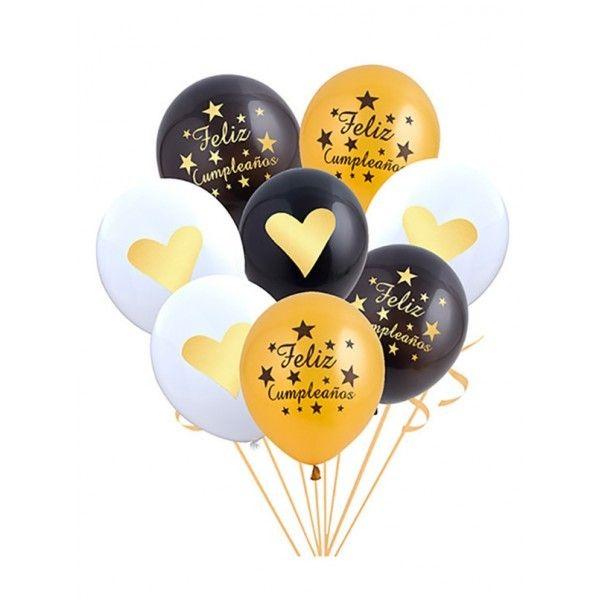 Set de globos 8 piezas negro oro blanco