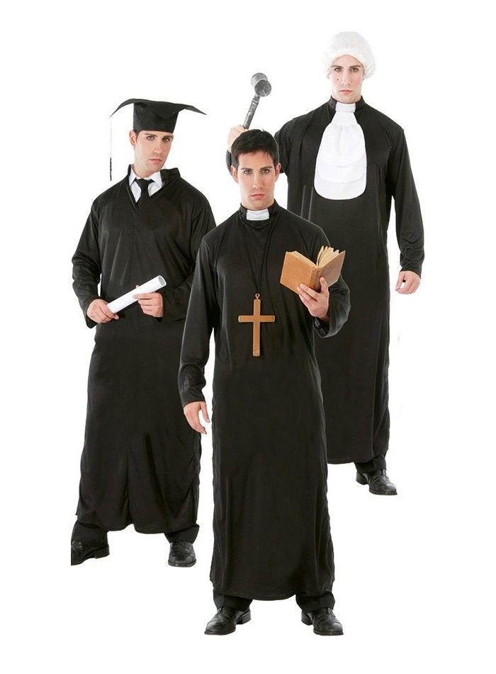 Disfraz de cura, estudiante y juez adulto