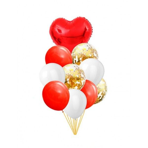 SET DE GLOBOS 10PCS ROJO+BLANCO
