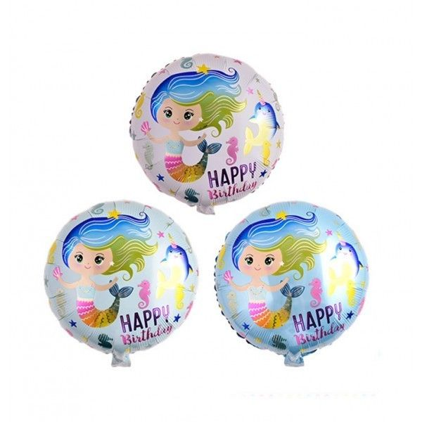 "GLOBO MYLAR 18"" SIRENAS HAPPY BIRTHDAY 45CM"