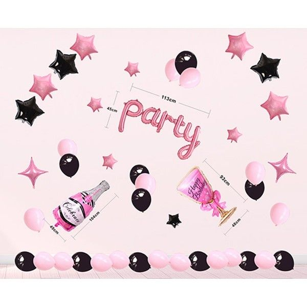 SET DE GLOBOS CON PARTY ROSA NEGRO 45PCS