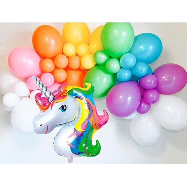 SET DE GLOBOS COLORES 46PCS UNICORNIO