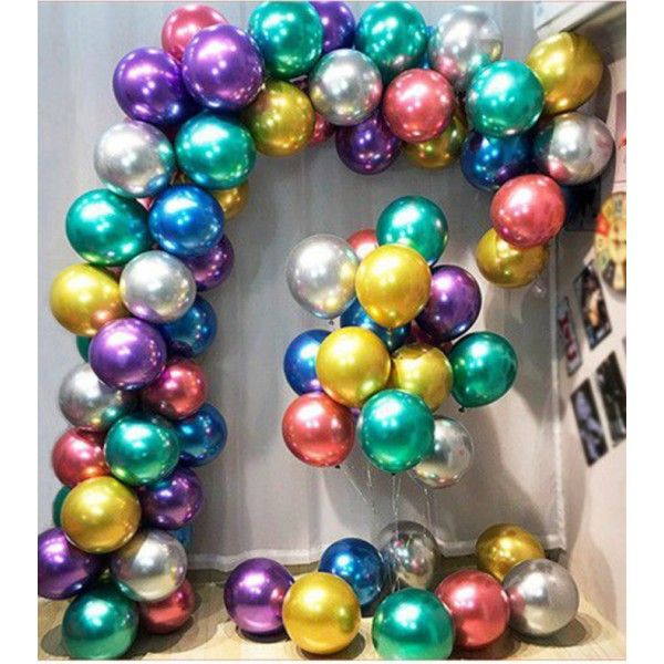 SET DE GLOBOS COLORES METALIZADOS 54PCS