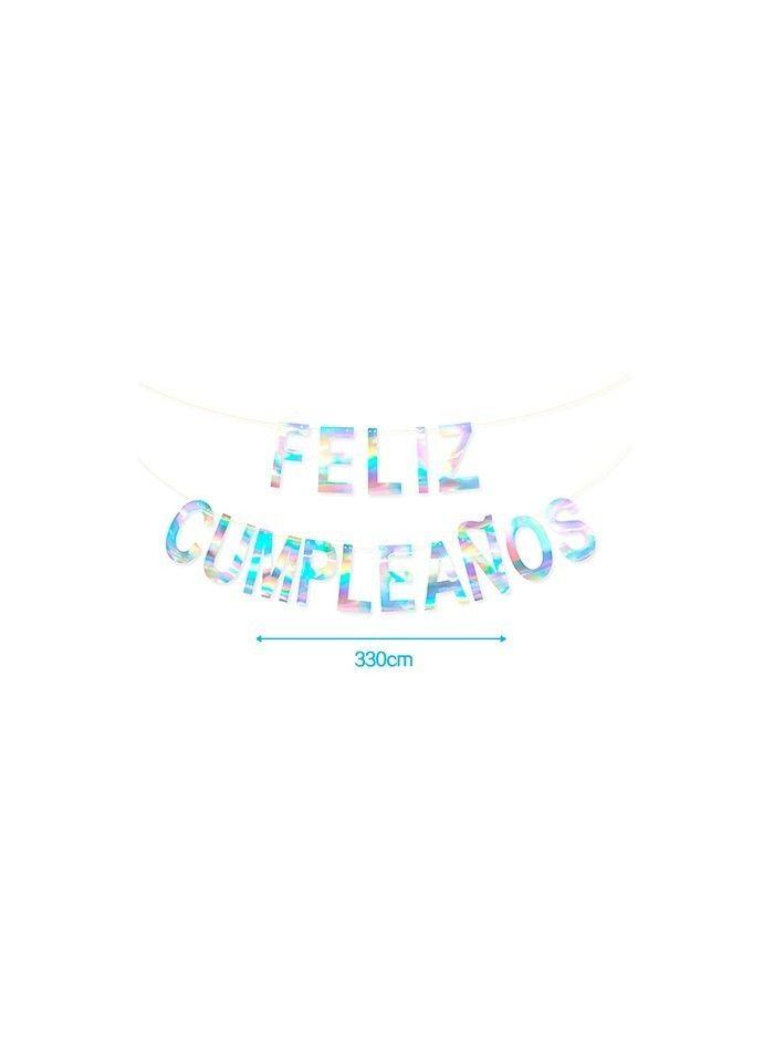 GUIRNALDA DE FELIZ CUMPLEAÑOS PLATA 3.3M