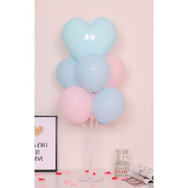 SET DE GLOBOS CON SOPORTE 7PCS COLOR PASTEL