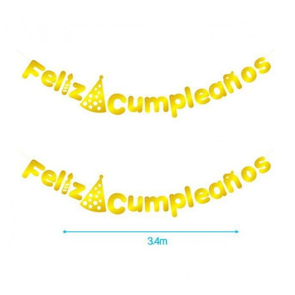 GUITNALDA FELIZ CUMPLEAÑOS 16PCS ORO 3.4M