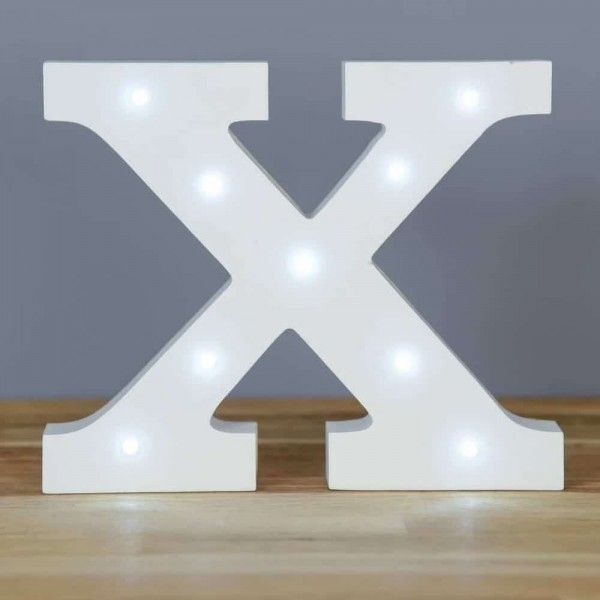 LETRA X LUZ LED MADERA BLANCO