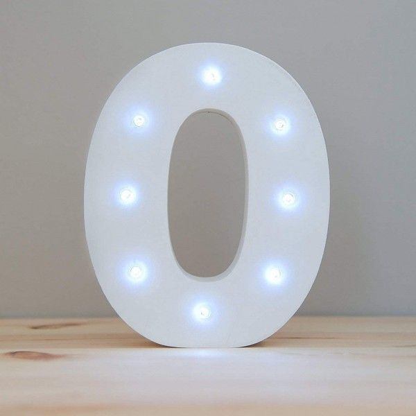 NUMERO 0 LUZ LED MADERA BLANCO