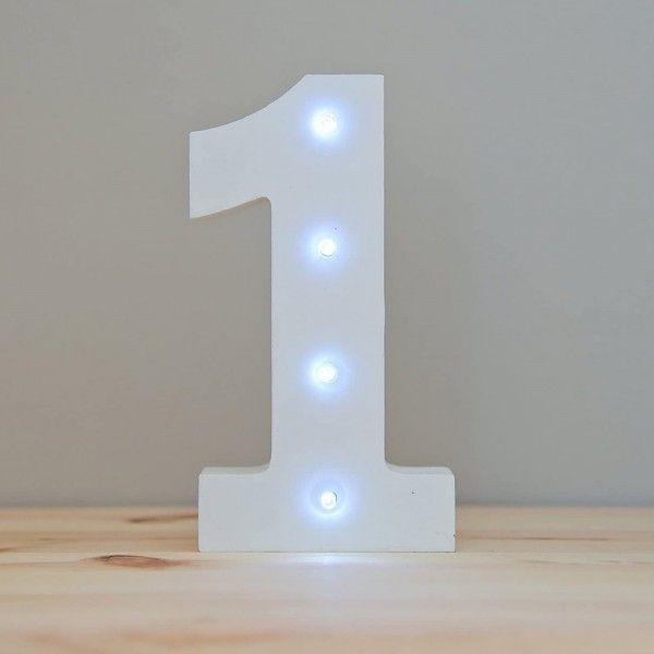 NUMERO 1 LUZ LED MADERA BLANCO