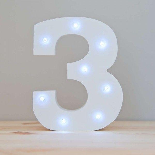 NUMERO 3 LUZ LED MADERA BLANCO