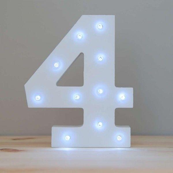 NUMERO 4 LUZ LED MADERA BLANCO