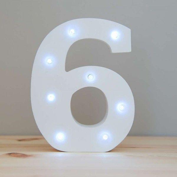NUMERO 6 LUZ LED MADERA BLANCO
