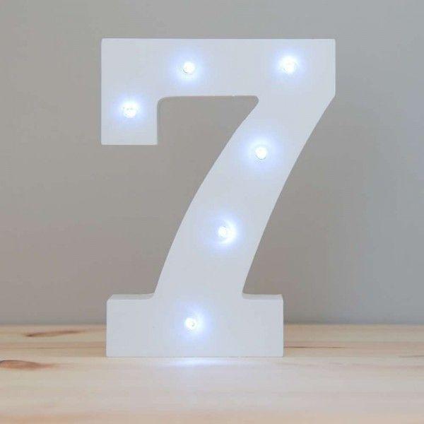 NUMERO 7 LUZ LED MADERA BLANCO