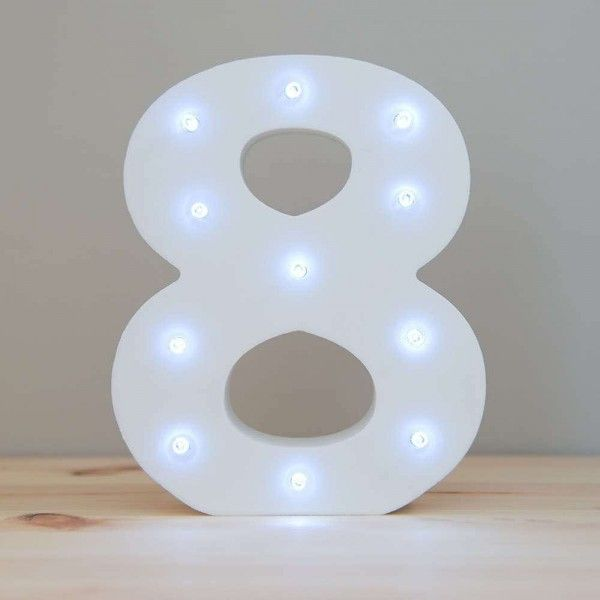 NUMERO 8 LUZ LED MADERA BLANCO