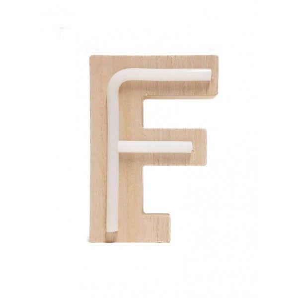 LETRA F DE LUZ MADERA 10x14.5cm