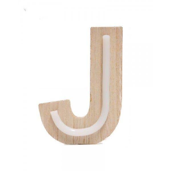 LETRA J DE LUZ MADERA 10.5x14.5cm