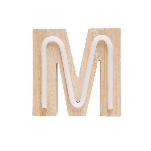 LETRA M DE LUZ MADERA 14.5x14.5cm
