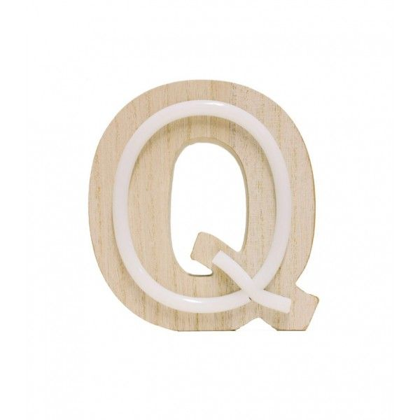 LETRA Q DE LUZ MADERA 14x14.5cm
