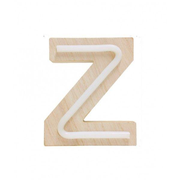 LETRA Z DE LUZ MADERA 12.5x14.5cm