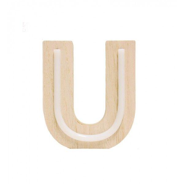 LETRA U DE LUZ MADERA 12.5x14.5cm