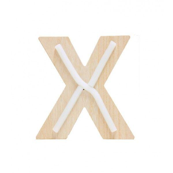 LETRA X DE LUZ MADERA 14x14.5cm