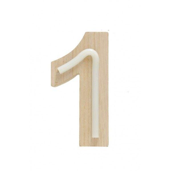 NUMERO 1 LUZ MADERA 7.5x14.5CM