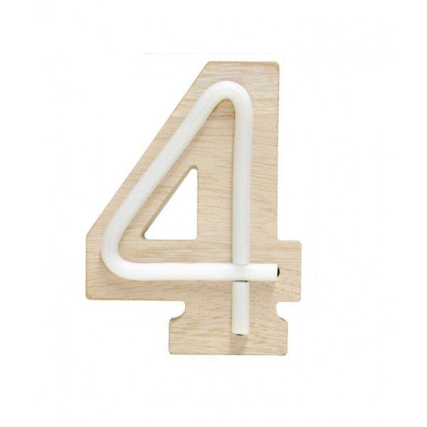 NUMERO 4 LUZ MADERA 11x14.5CM
