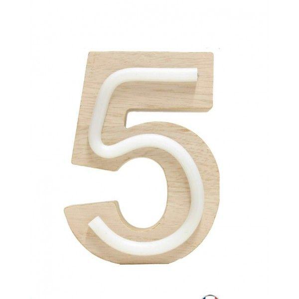 NUMERO 5 LUZ MADERA 10.5x14.5CM