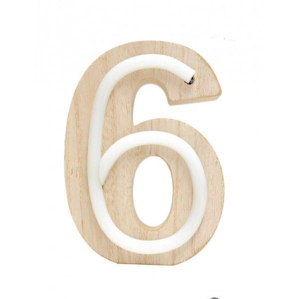 NUMERO 6 LUZ MADERA 10.5x14.5CM