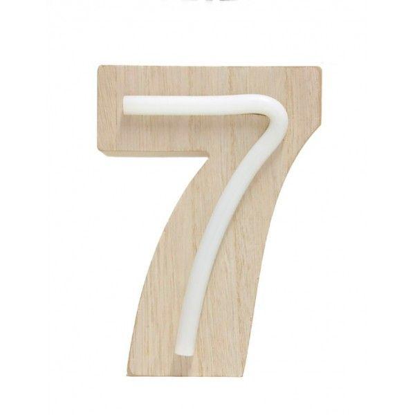 NUMERO 7 LUZ MADERA 10.5x14.5CM