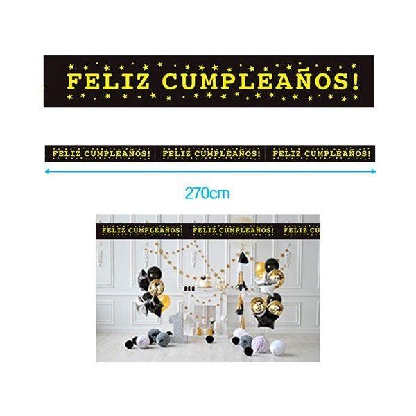 GUIRNALDA FELIZ CUMPLEAÑOS NEGRO 15X270CM