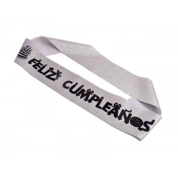 BANDA FELIZ CUMPLEAÑOS PLATA PURPURINA