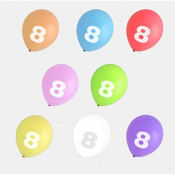 GLOBOS NUMERO 8 COLORES 8PCS