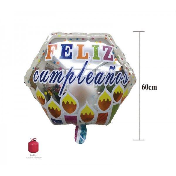 60CM GLOBO DE CUMPLEANOS HEXAGONAL