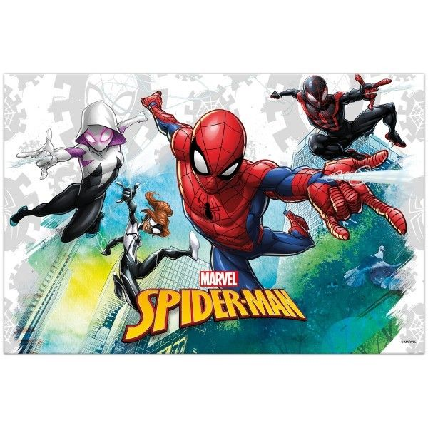 MANTEL DE PLASTICO SPIDERMAN TEAM UP 120X180CM