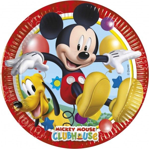 6 PLATOS DE PAPEL 20CM MICKEY PLAYFUL