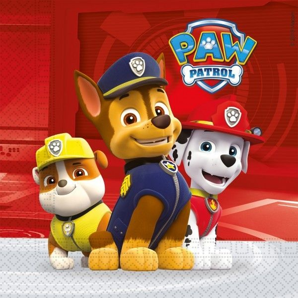 20 SERVILLETAS DE PAPEL PAW PATROL READY FOR ACTION