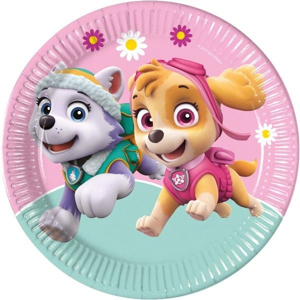 6 PLATOS DE PAPEL 23CM PAW PATROL SKYE Y EVEREST